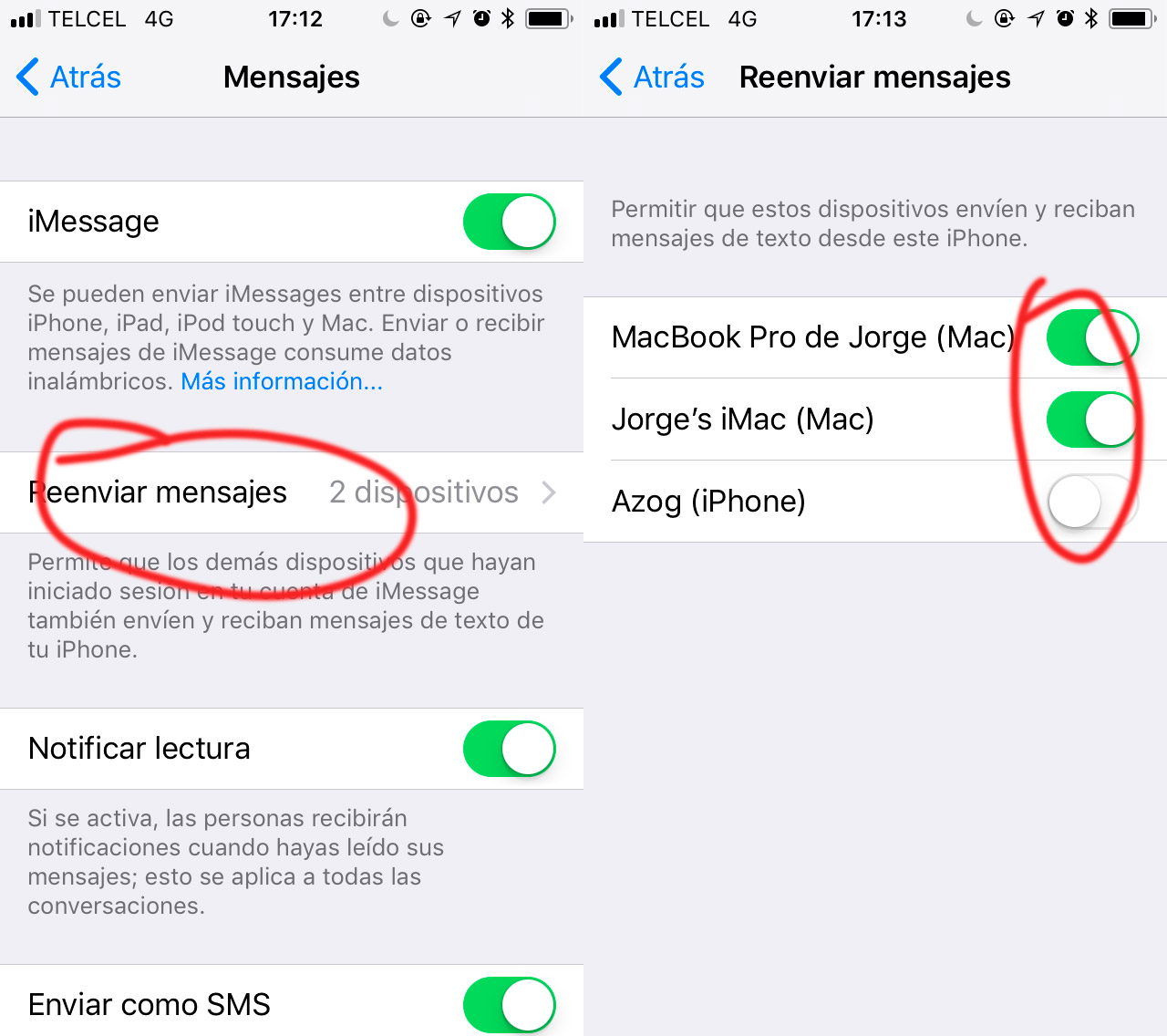 activar sms iphone