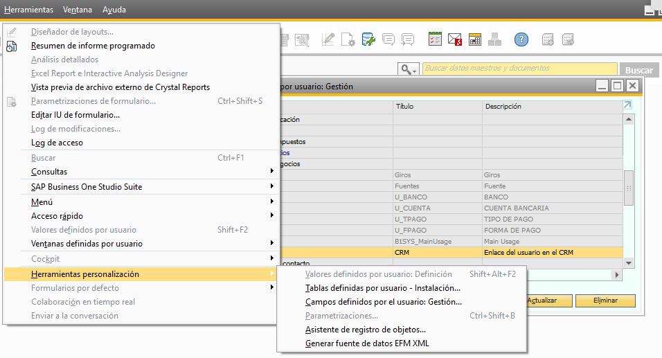 crear campo personalizado de SAP tipo link