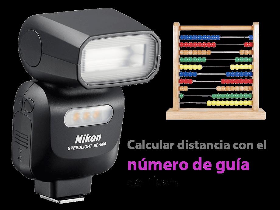 distancia flash con número de guía