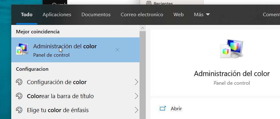 administración de color